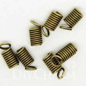Bronze Tone Spring Coil Cord Ends 8..