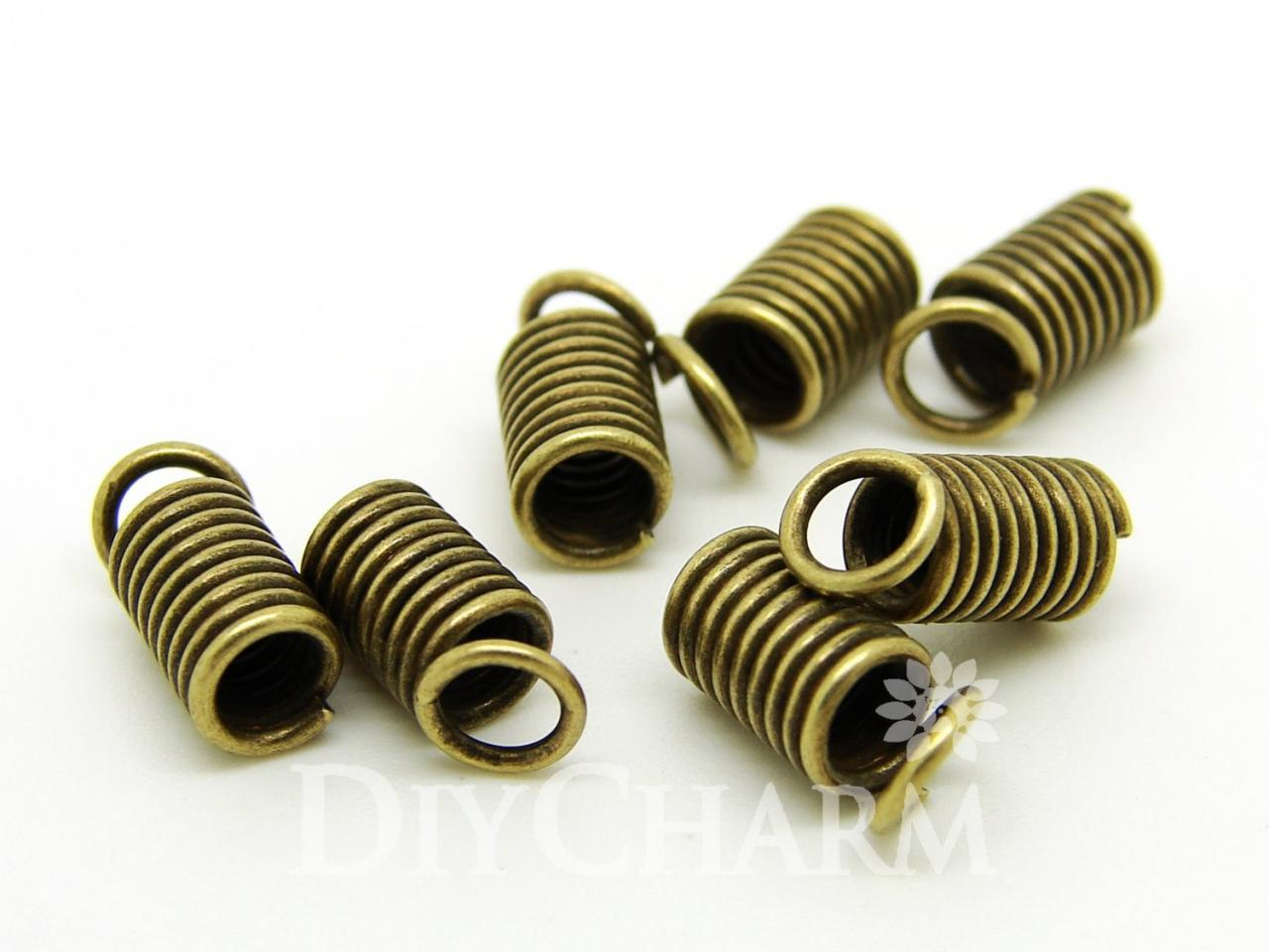 Bronze Tone Spring Coil Cord Ends 8x4.5mm - 100Pcs - FQ23850